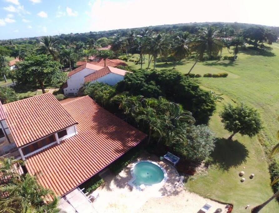 Aereal view of villa and its backyard.