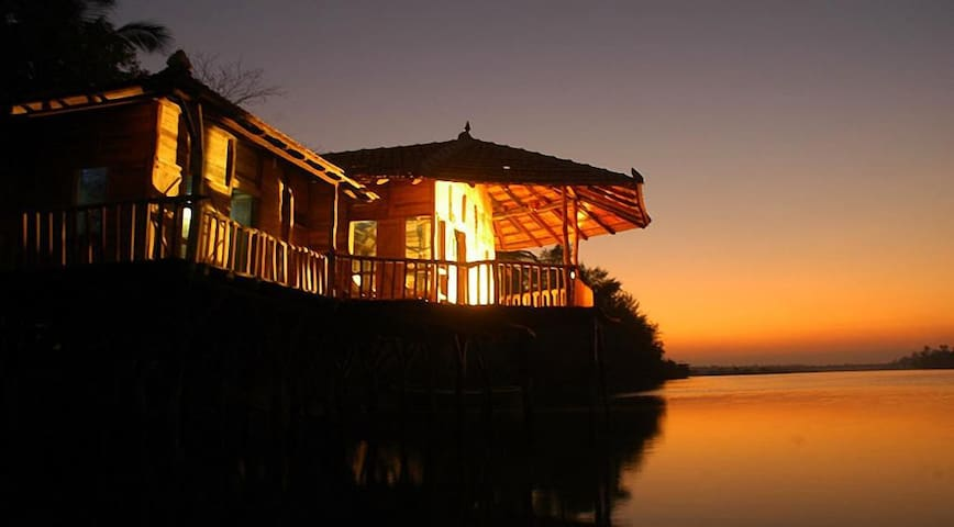 Beautiful stilt house on the backwaters