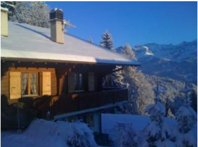 Typical swiss alpine wood chalet - Ollon - House