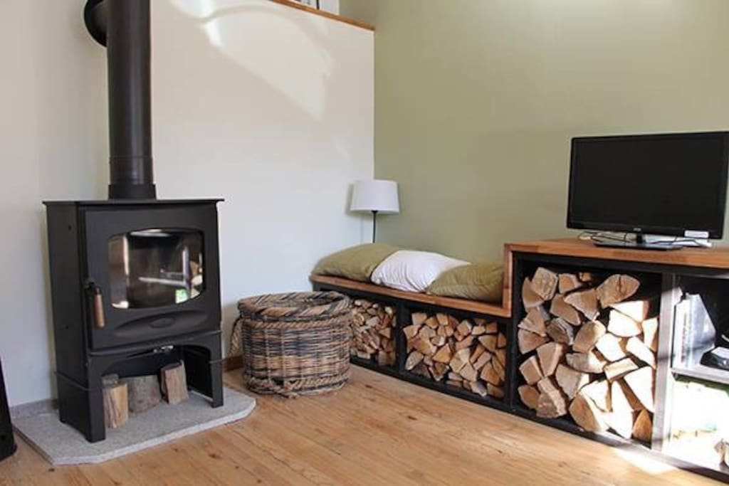 The wood burning stove heats the living area within minutes and provides a cosy relaxing end to the day.