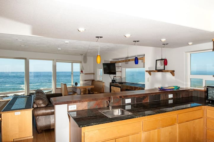 Amazing views from every room in this oceanfront pet friendly Yachats home!