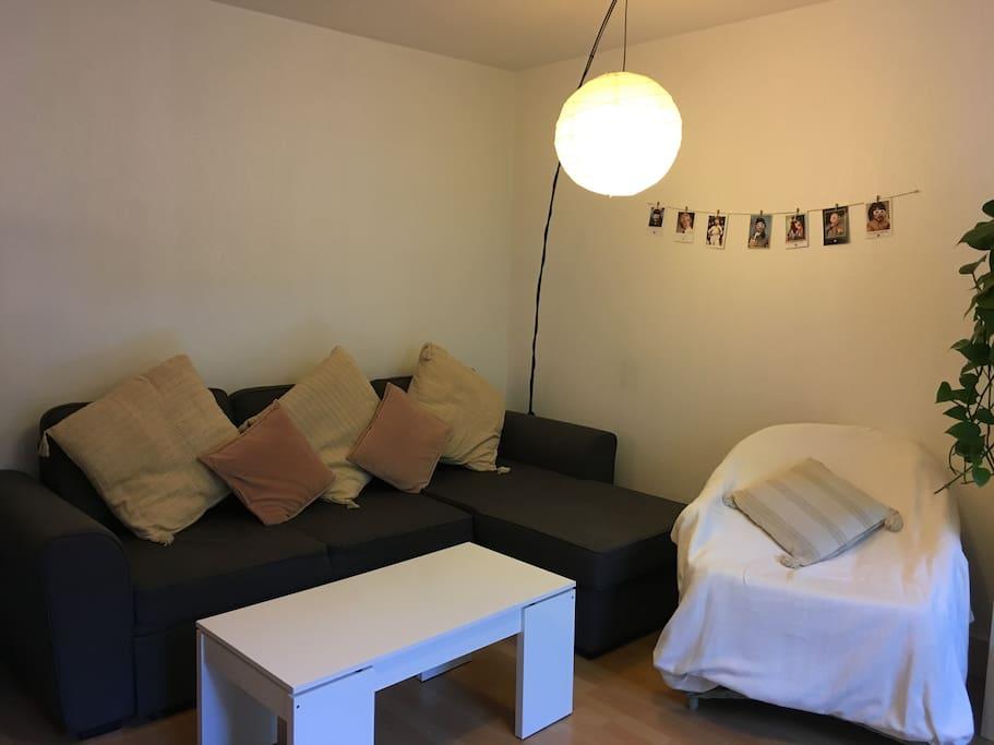 Un salon confortable donnant sur la terrasse