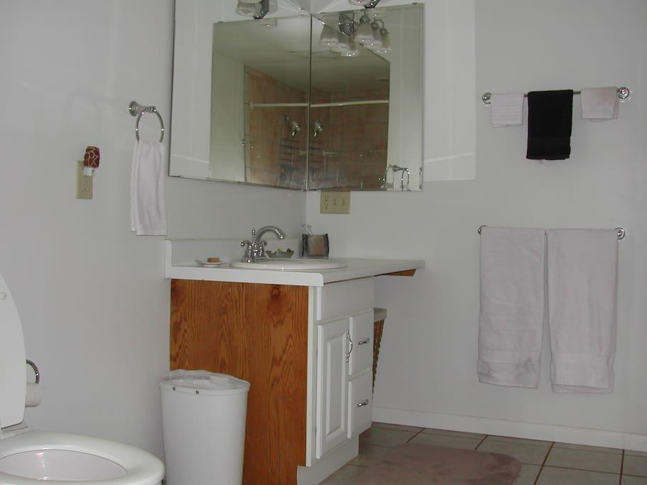 Spacious bath.
