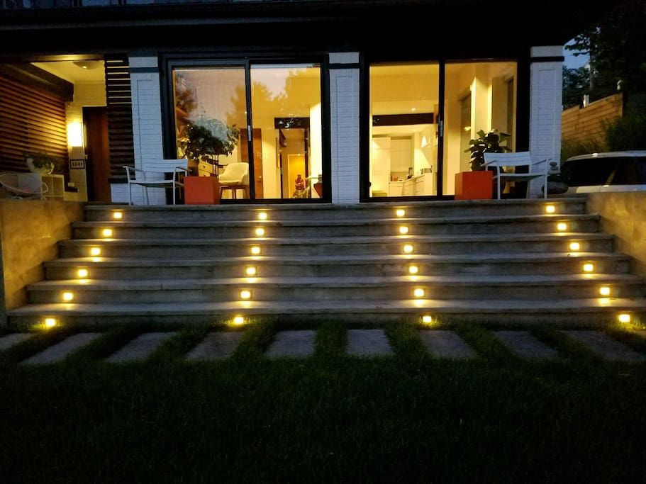 Led lights light  up the front of the property so it is very recognizable for late checkin guests.