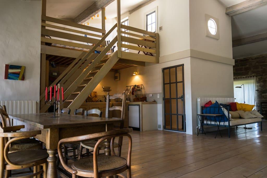 Küche, Mezzanine, Terrasse