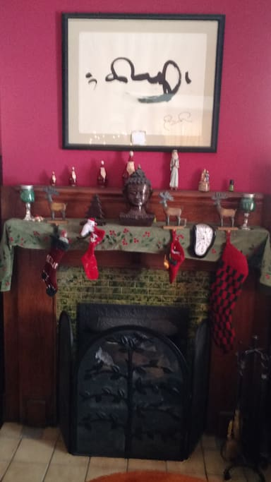 Eclectic fireplace mantle for the holidays