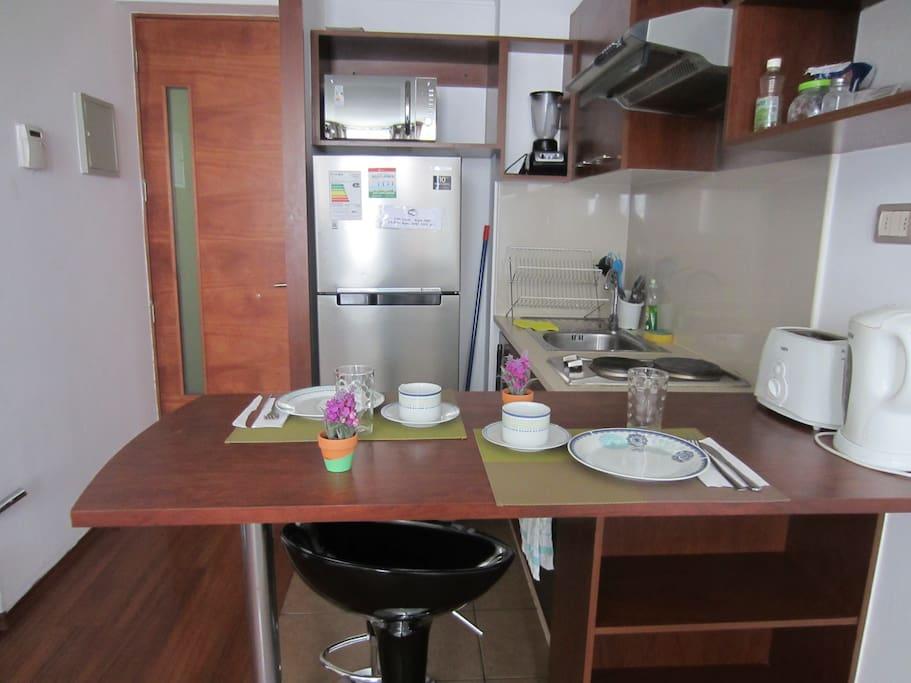 Restful apart near moneda palace departamentos en for Utensilios de cocina santiago chile