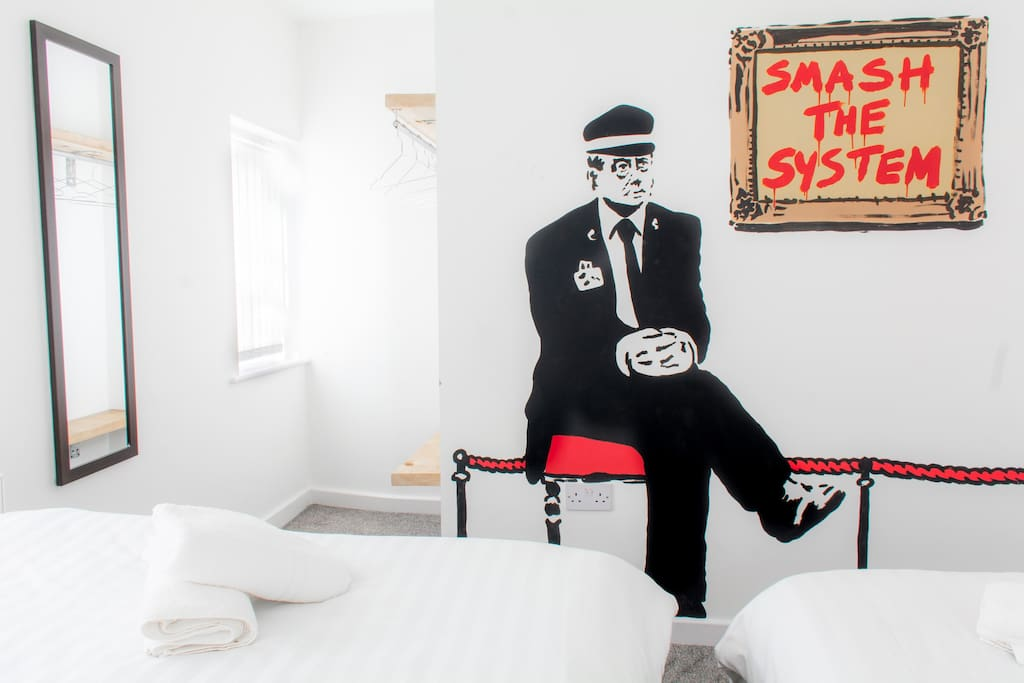 Quirky, fun graffiti inspired decor - a different design in every room...