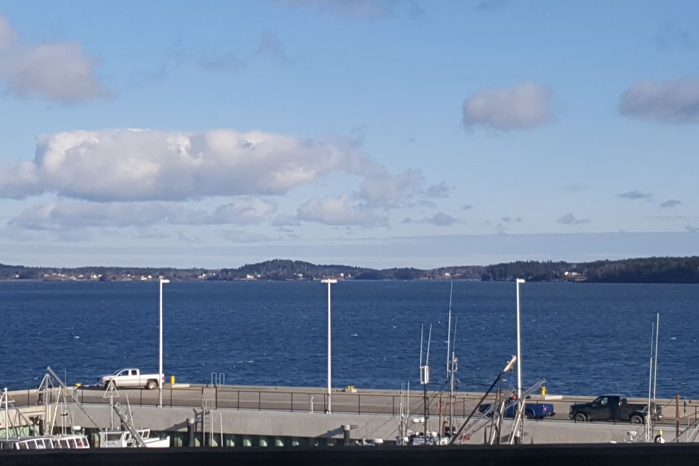 View from the deck - You are right on the Eastport Breakwater and see Campobello (Canada) in the distance