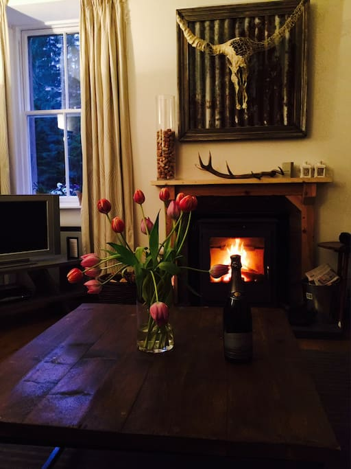 Our beautiful spaciouos lounge with woodburner