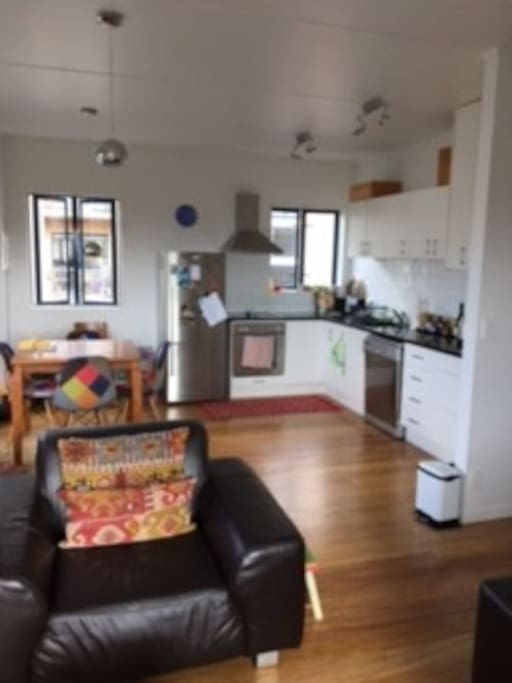 Kitchen and shared open plan living