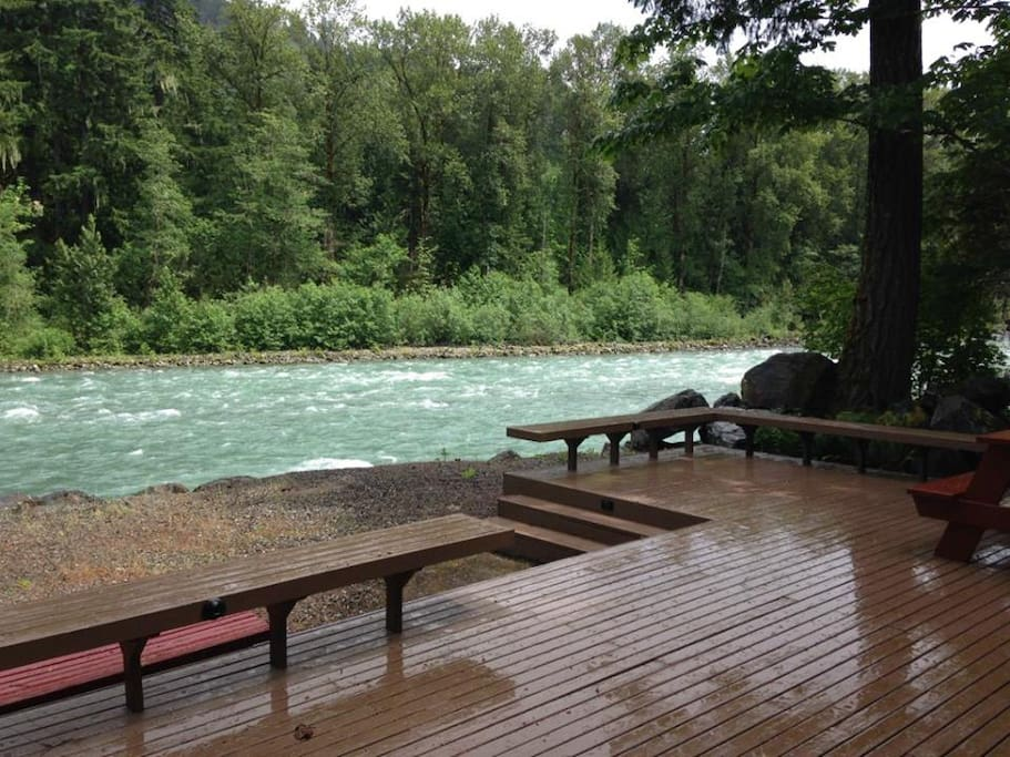 Deck view within feet of the Wild and Scenic Sauk River