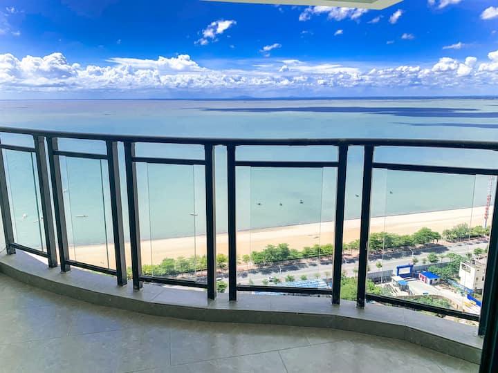 每日消毒•【海洋之心】金滩270度无遮挡看海•三个卧室皆可看海•30米到海,免费停车近老街近海底世界