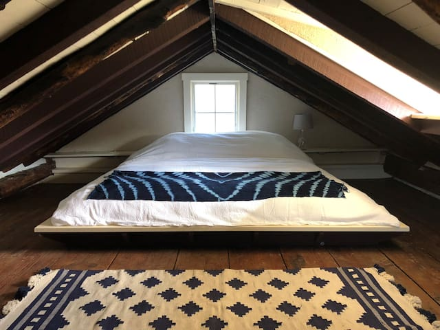 King-Sized bed in the loft