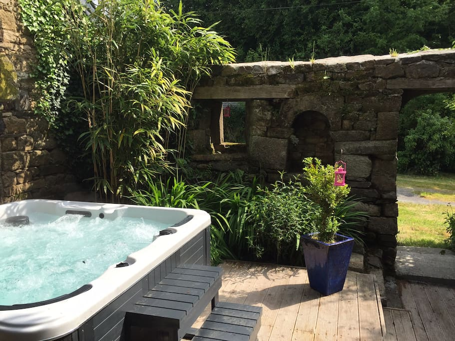 6 Seater Hot tub in walled garden