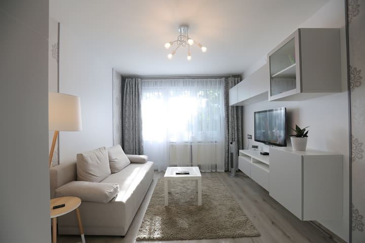 Fully renovated 1 room apartment with comfortable double bed and sofa bed. Fully equipped kitchen, washing machine, tumble dryer.