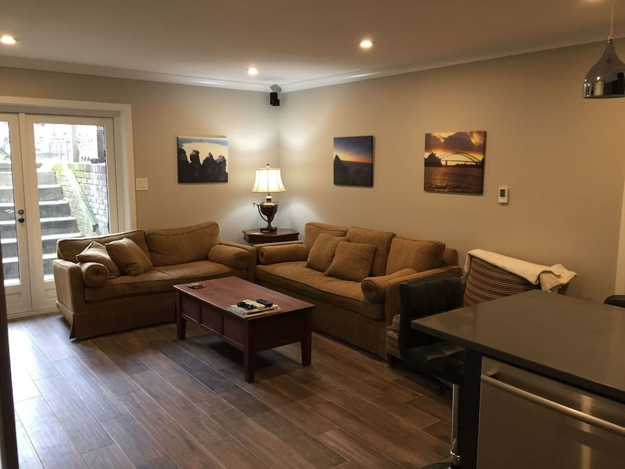 Comfy living room with heated floor