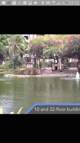 Hawaii style resort, near the city.