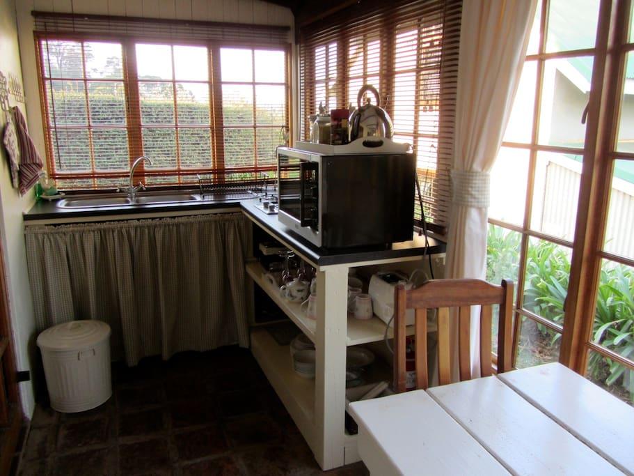 Kitchen nook on the veranda