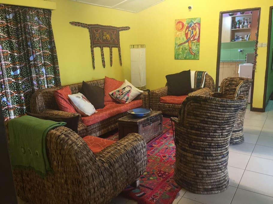Common living rooom - Banana leaf locally made furniture