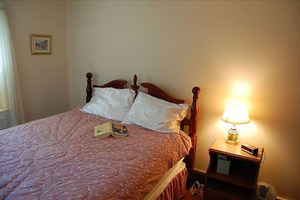 Sleep in a/c comfort in Queen Bedroom #1 .