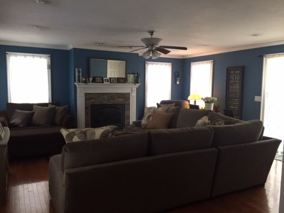 Large but cozy family room to enjoy a movie or to relax.