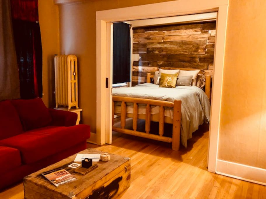 Cozy open layout with pocket doors for privacy