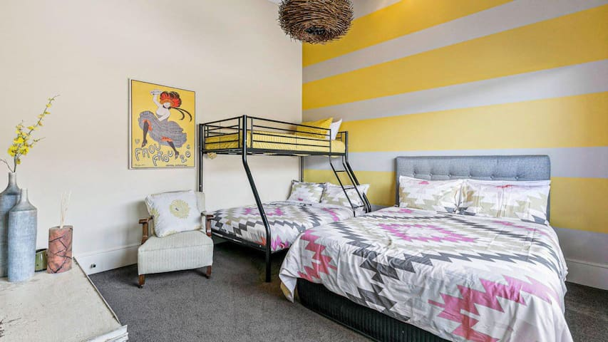 Tri bunk and Queen bed
