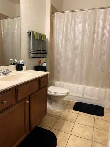This full private bathroom is located inside your room, and is only used (and accessible) to you during your stay.