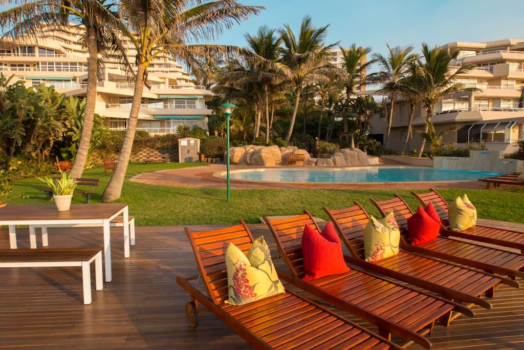 Pool deck overlooking the main Umhlanga Beach
