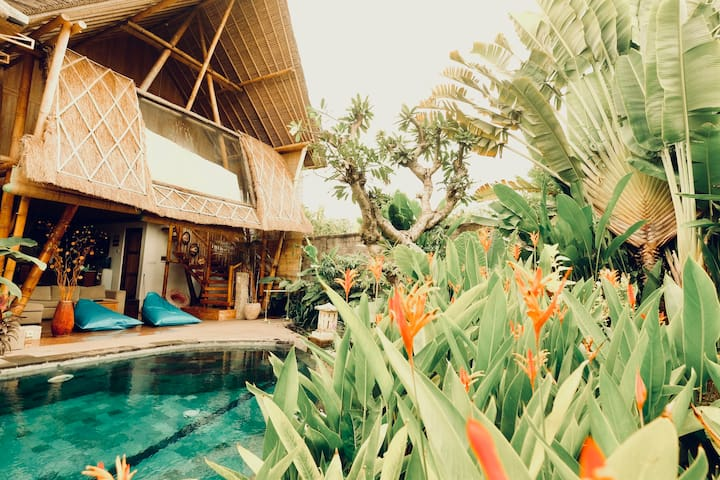 Bamboo Guesthouse with pool & tropical garden