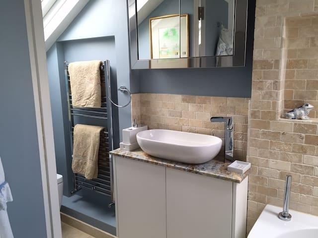 Basin and heated towel rail