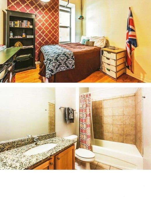 Bedroom and hallway bath