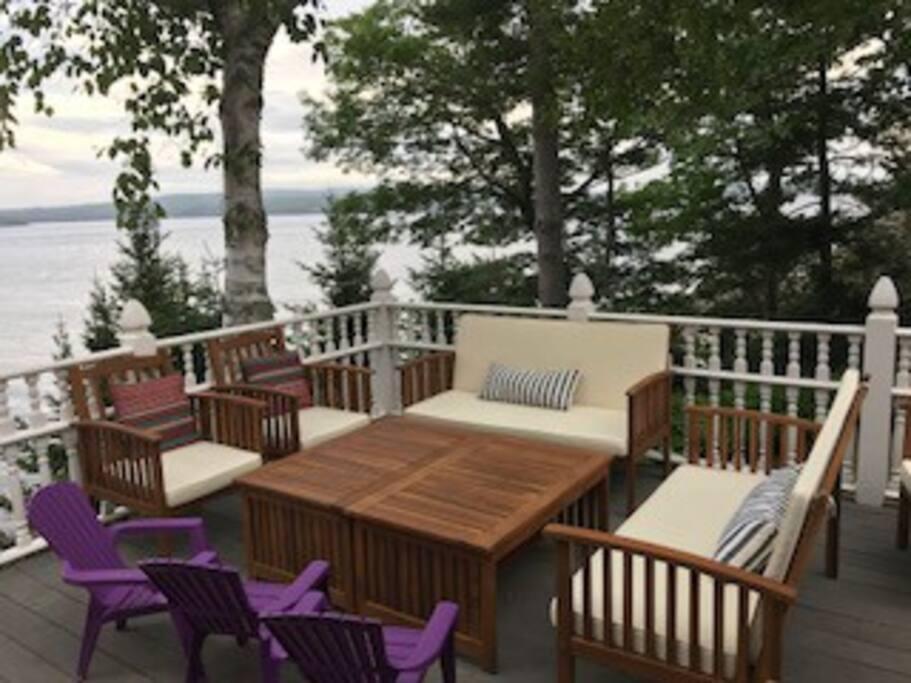 Large deck with ocean views