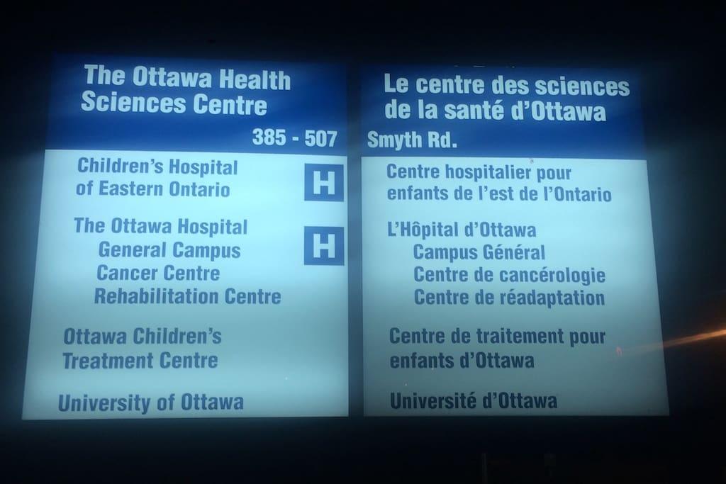 Short walk to Ottawa Hospital Campus