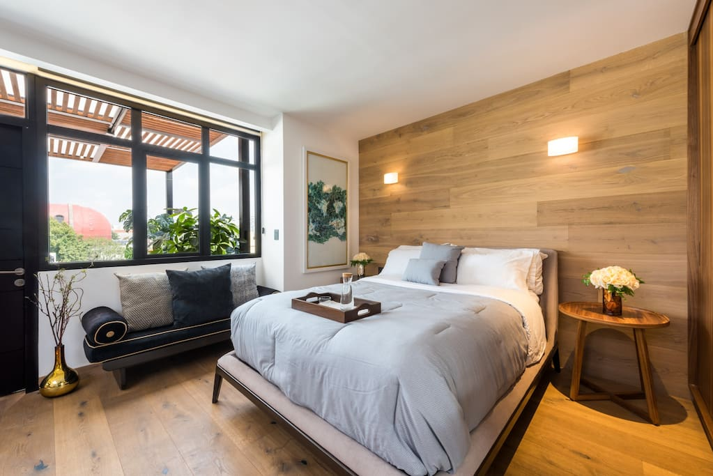 Master bedroom with a private terrace with a great view