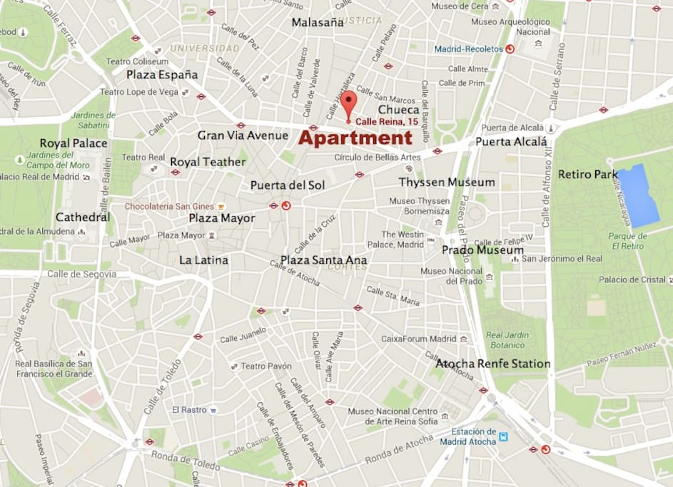 Red Symbol is where the apartment is located