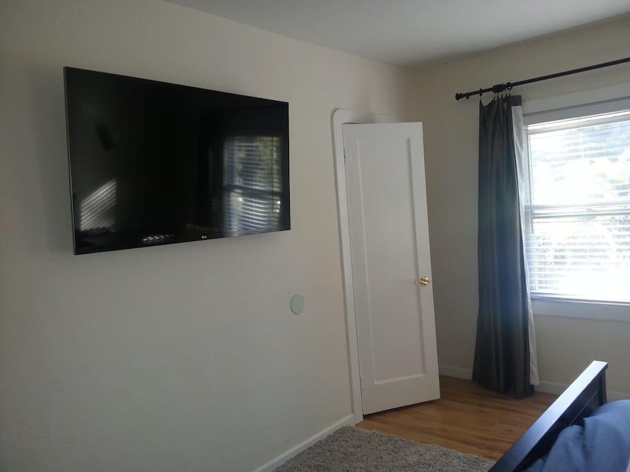 60 inch flat screen with ROKU - Netflix, Amazon Prime Movies