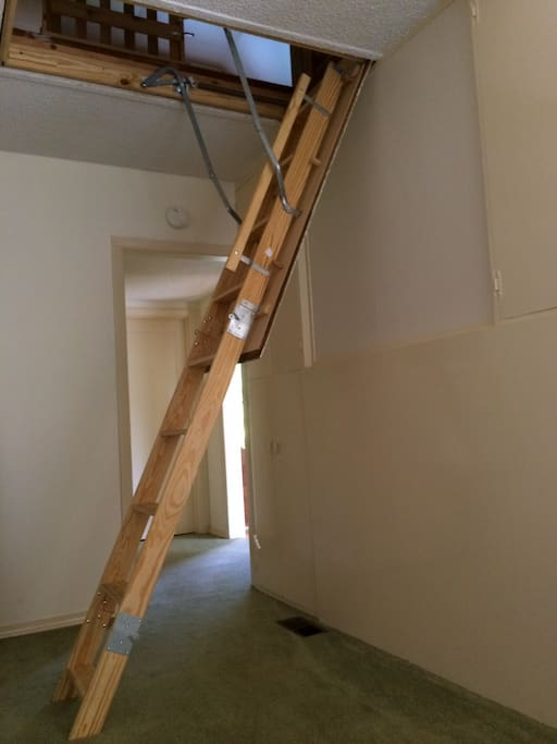 Ladder you have to climb to get into attic loft, max weight 175 lbs.