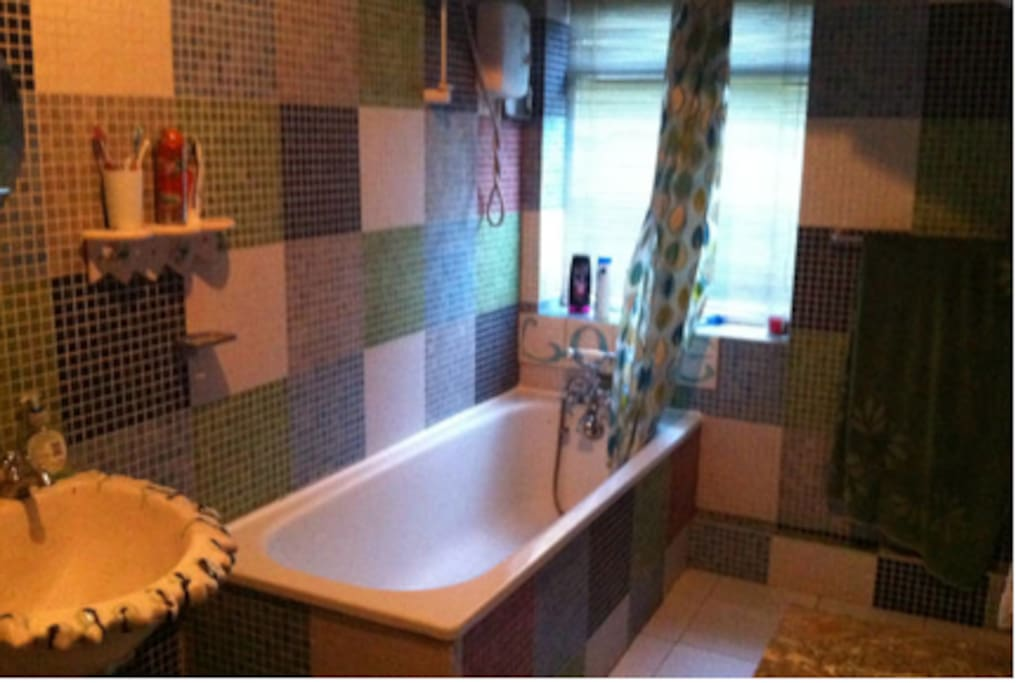 Mosaic bathroom with shower.