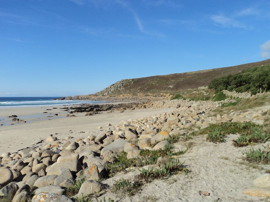 Gwynver beach 20 minutes walk from the Farm or an hours walk along the beautiful coast path.