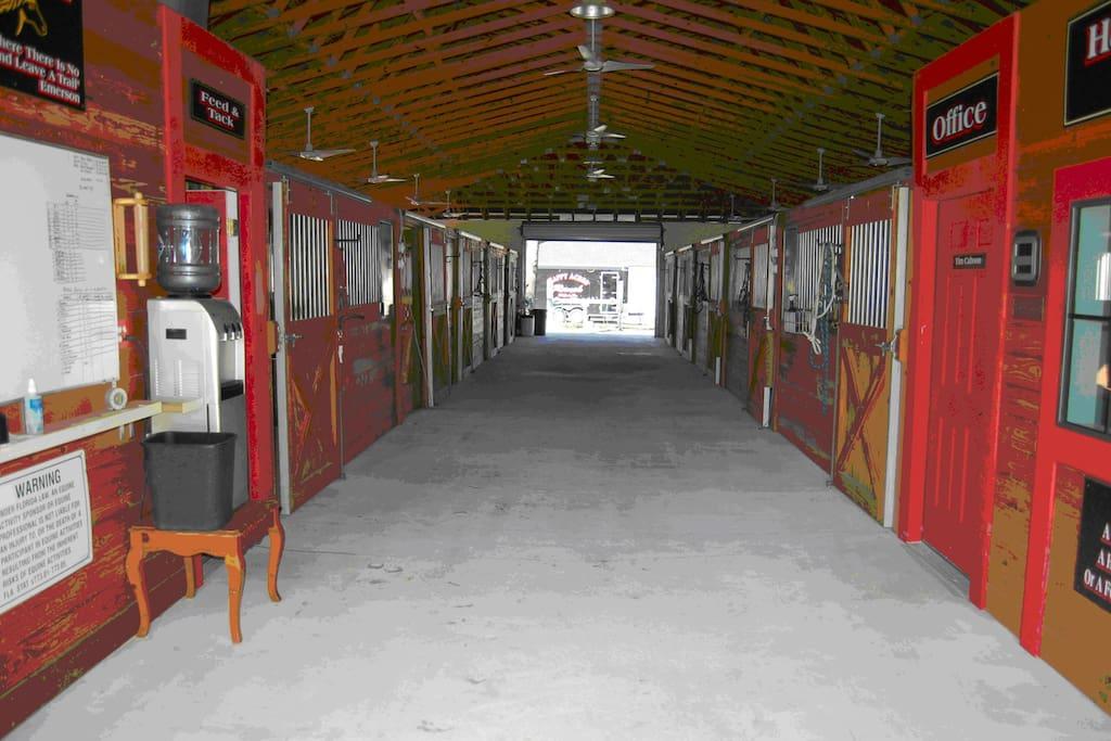 Inside barn A.  Groom Quarters A on right & B on left