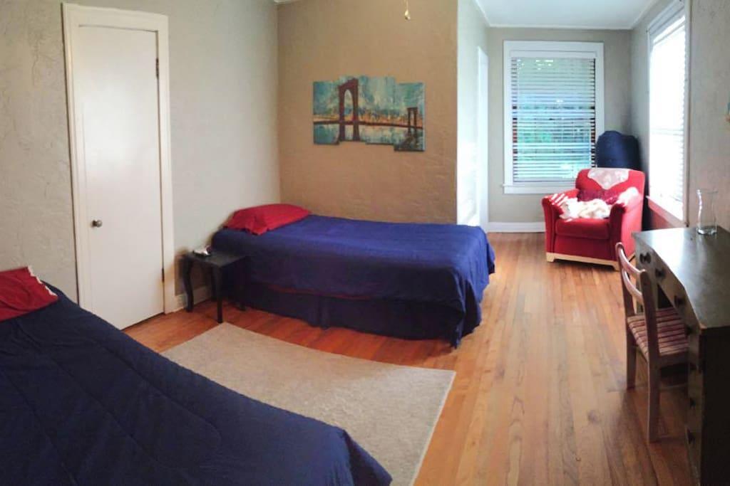 2 comfy single beds