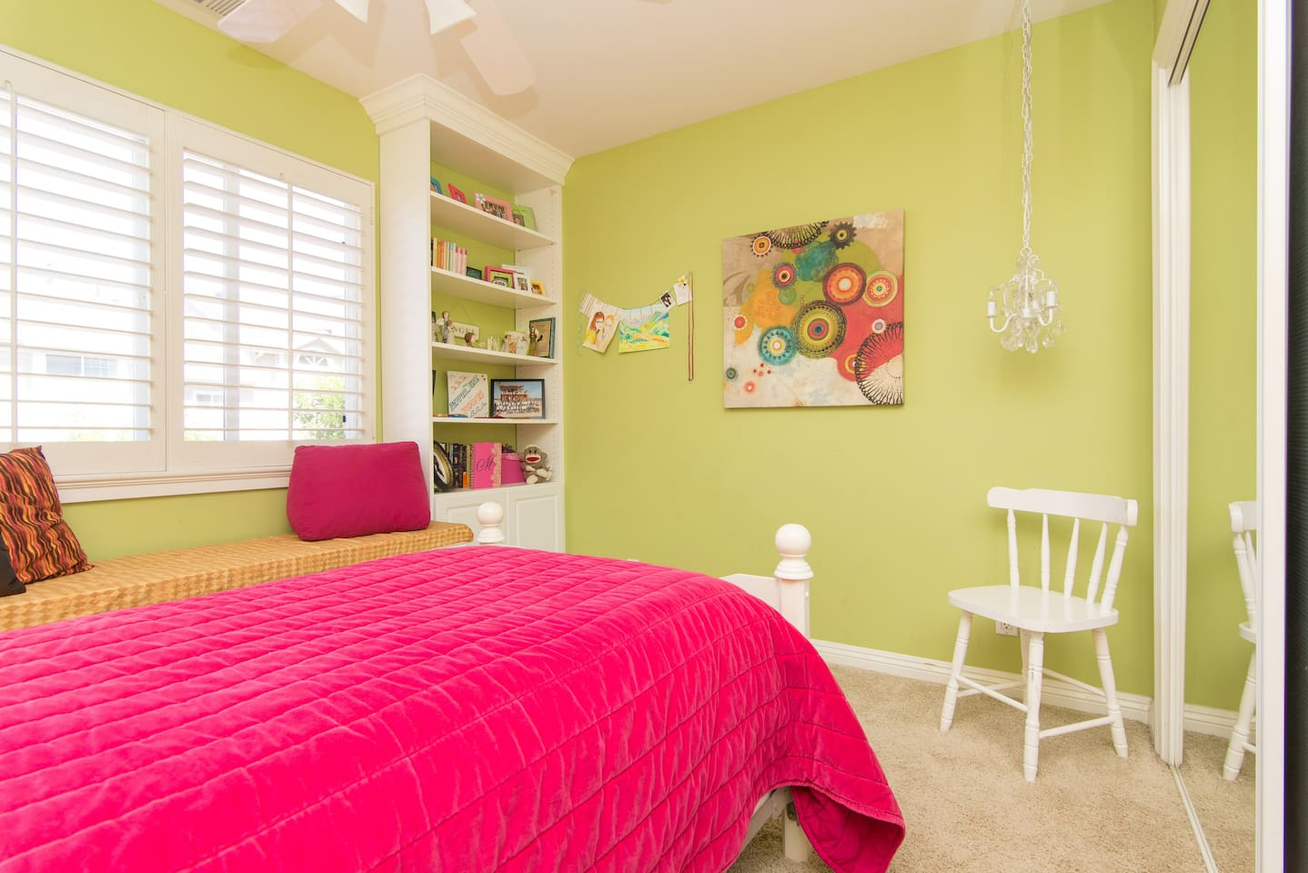 Bright room with very comfortable single bed and window seat.