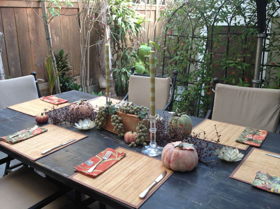secluded patio seats up to 8 around table + 14 close by