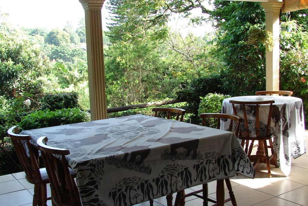 Hearty breakfast served on the covered patio