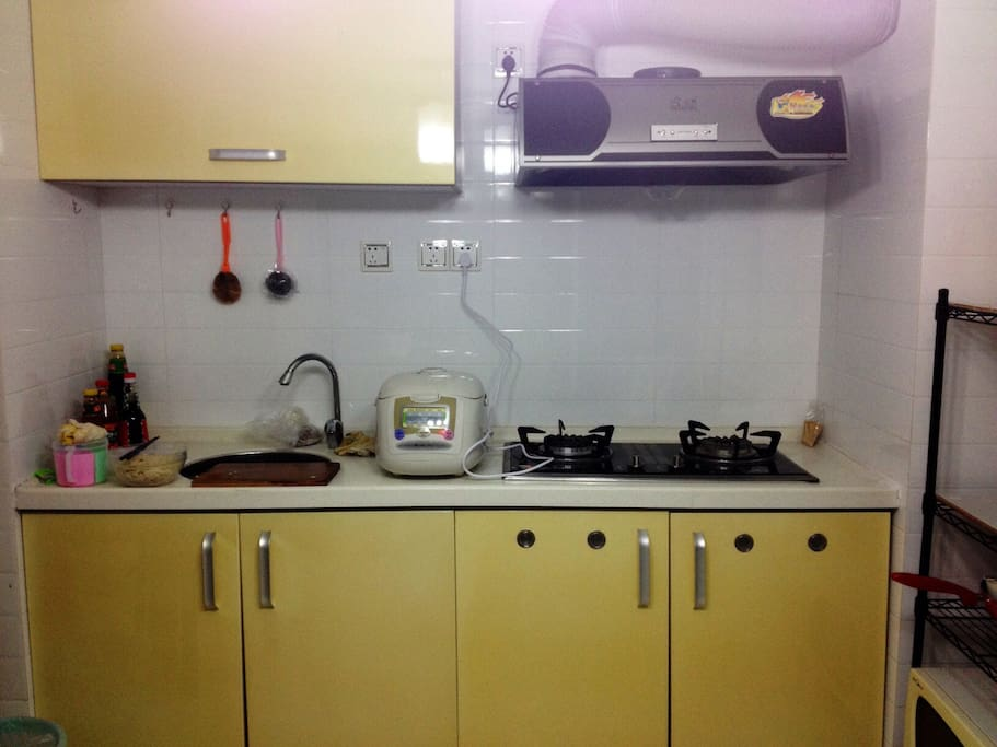 kitchen with rice maker, gas stove, smoke exhaust, oven