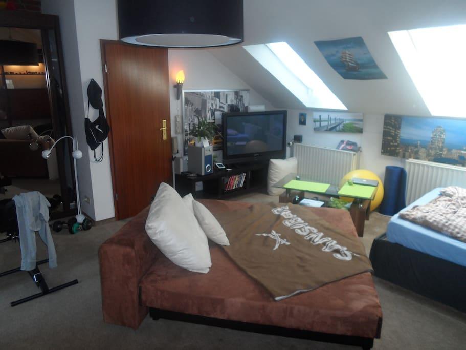 Plasma TV , Schlafcouch & Doppelbett