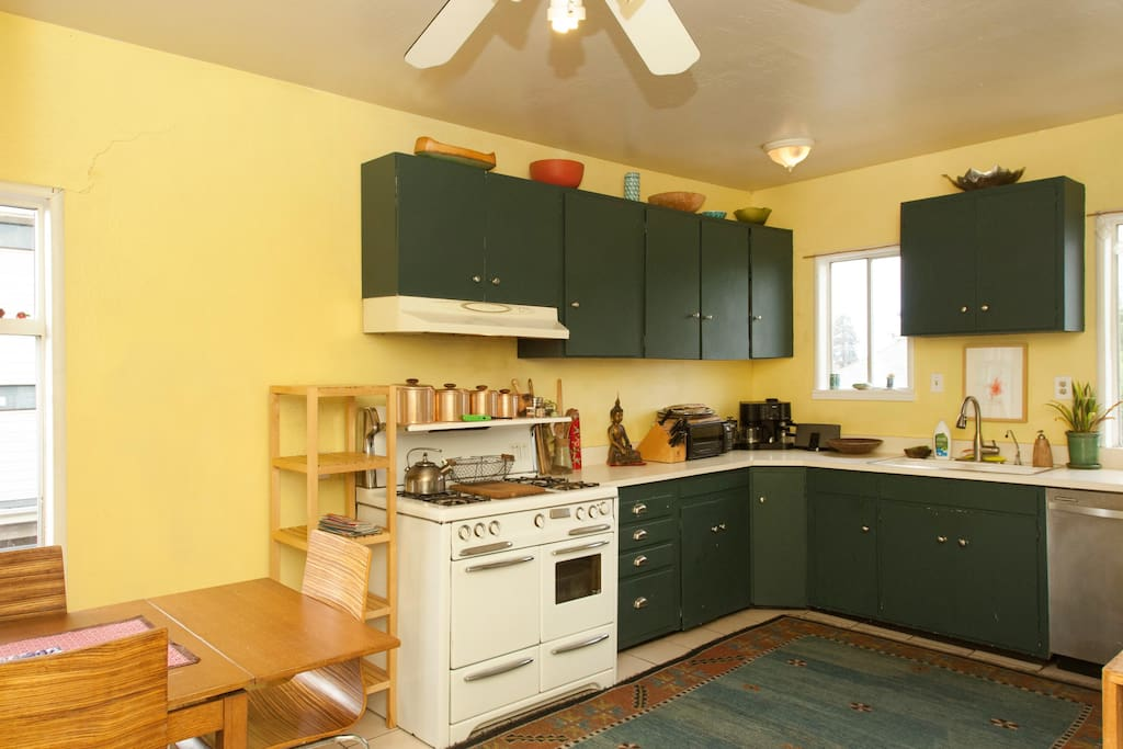 Kitchen with classic Gafford & Sattler stove and lots of morning light