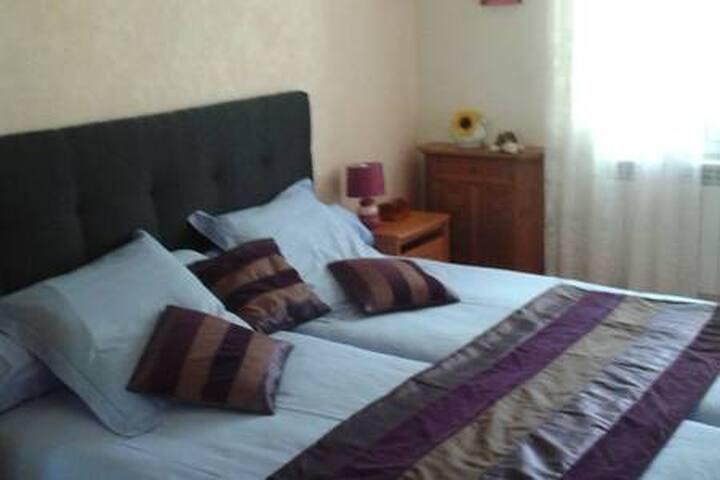 Chambre 2 lits simples dans le Médoc